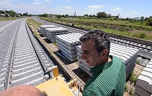 Florencio Randazzo - Randazzo overseeing rail constriction on the General Roca Railway.
