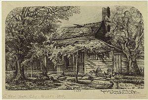 Joris Jansen Rapelje - Home of the Rapelje family, foot of 34th Street and the North River. Drawing by Eliza Pratt Greatorex