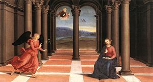 Oddi Altarpiece (Raphael) - Image: Raphael The Annunciation (Oddi altar)
