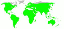 Distribución de Rattus rattus, en verde.