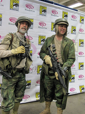 Cosplayers portraying Rebel Marksmen from Star...