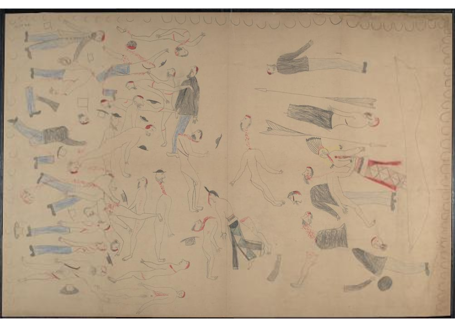 Red Horse pictographic account of the Battle of the Little Bighorn, 1881. 0400
