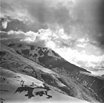 Redoubt Volcano, mountain glacier with icerfall and bergschrund, September 4, 1977 (GLACIERS 6756).jpg