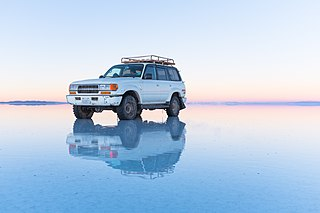 Reflection on the Salar de Uyuni, bolivia