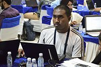 Rehman Abubakr Studies MediaWiki Automation through Google Technology - Workshop - Wiki Conference India - CGC - Mohali 2016-08-06 7819.JPG