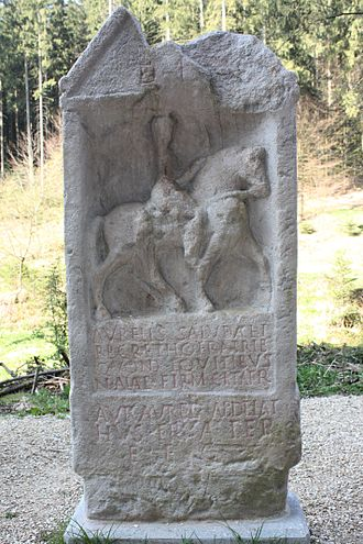 Equites cataphractarii - Funerary monument to a cavalryman of an early Roman cataphract unit, the Ala Firma Catafractaria. 3rd century AD, Stuttgart-Bad Cannstatt, Germany. Weathering makes the equipment of the rider unidentifiable, but the horse does not appear to be armoured.