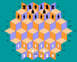 Rhombic Chess - Rhombic Chess starting setup. Each side commands a standard set of chess pieces. Cell colors highlight pointwise movement.