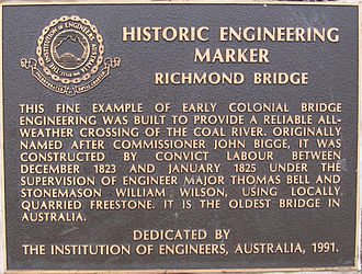Richmond Bridge (Tasmania) - The plaque on Richmond Bridge summarising its history