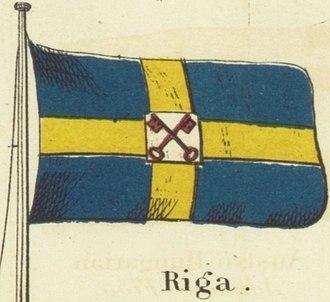 Flag of Riga - Image: Riga. Johnson's new chart of national emblems, 1868