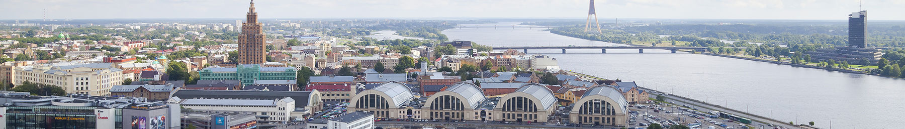 Riga Central Market, five pavilions constructed by reusing old German Zeppelin hangars