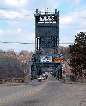 Stillwater Bridge (St. Croix River) - Roadway view of the bridge from the west