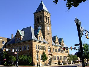 Lancaster, Ohio - Romanesque-style City Hall building downtown