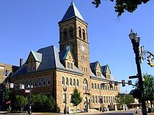 Lancaster, Ohio - Romanesque-style City Hall building downtown