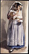 Rome 1843. Kvinna i folklig dräkt. Akvarell av Fritz von Dardel, 1843 - Nordiska Museet - NMA.0037585