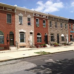 Row houses in East Monument Historic District, Baltimore, Maryland.JPG
