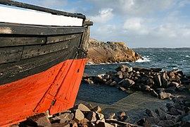 Rudder of fishing boat Frifararen at Vikarvet Museum 1.jpg