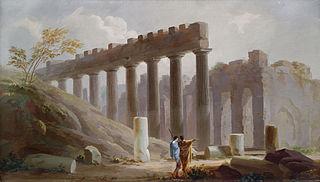 Paysage de ruines avec personnages