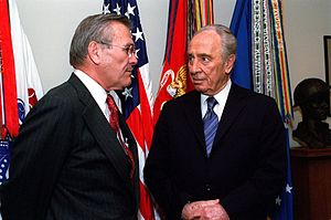Rumsfeld and Israeli politician Shimon Peres