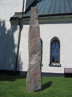 Sigurd stones - The image on the bottom of this side of the stone is held to depict Sigurd's brother-in-law Gunnar.