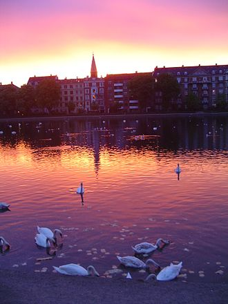 "Indre By - The ""lakes"" in central Copenhagen, Denmark."