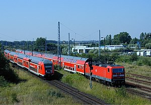 Bilevel rail car - Bombardier double-deck rail cars in Germany, used extensively on suburban trains (here: S-Bahn Rostock)
