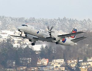 Swiss International Airlines Flight 850 - A Crossair Saab 2000, similar to the accident aircraft
