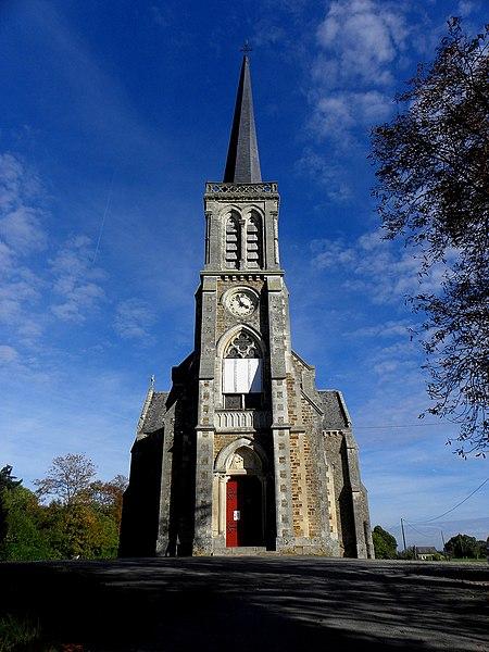 L'église Notre-Dame-de-l'Assomption, lieudit Mégaudais, commune de Saint-Pierre-des-Landes (53). Façade principale.