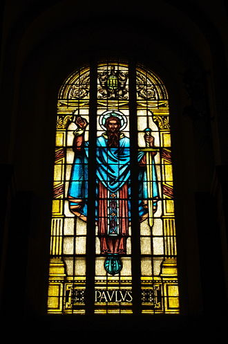 Saints Peter and Paul Cathedral (Indianapolis) - Window depicting St. Paul