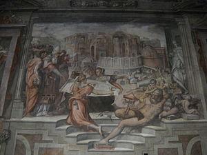 Sala dei Cento Giorni - Image: Sala dei Cento Giorni Giorgio Vasari 1547 Palazzo della Cancelleria istoria 4