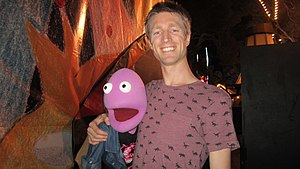 Randy Feltface - Randy (left) and Sammy J post-show in the Garden of Unearthly Delights at the 2016 Adelaide Fringe Festival.