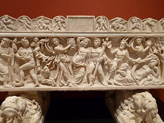 Bacchanalia - Bacchanal on a Roman sarcophagus of 210-220 AD