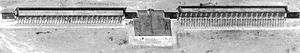 Dnestr radar - KH-7 Gambit US spy satellite image of a Dnestr space surveillance radar at Balkhash Radar Station, 28 May 1967. Note the radar arrays are in straight line.