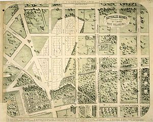Satterlee General Hospital - An illustration of existing and proposed uses of land in West Philadelphia, produced around 1869 by real estate developers who sought to sell plots of land on the site of the Union's Satterlee Civil War hospital. Drawn with the west at the top.