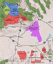 A map of Sawtooth National Forest showing the SNRA, ranger districts, Sawtooth Wilderness, and surrounding lands