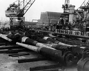 Disarmament - Battleships being dismantled for scrap in Philadelphia Navy Yard, after the Washington Naval Treaty imposed limits on capital ships
