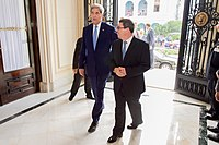 Secretary Kerry and Cuban Foreign Minister Rodriguez Enter the Cuban Ministry of Foreign Affairs (20574286885).jpg