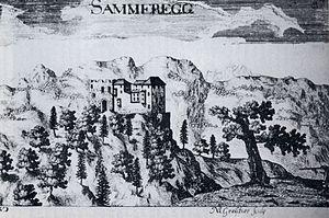 Burg Sommeregg - Sammeregg, engraving from Topographia Archiducatus Carinthiae by Johann Weikhard Valvasor, 1681