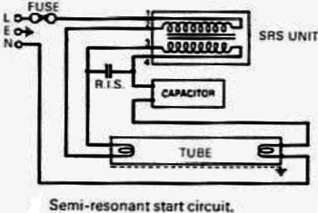 English: Wiring circuit of a semi-resonant flu...