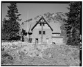 September, 1988 EAST ELEVATION. - Austin Pass Warming Hut, Washington Highway 542, Glacier, Whatcom County, WA HABS WASH,37-GLAC.V,1-9.tif