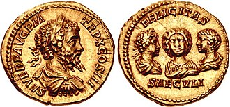 Septimius Severus - Dynastic aureus of Septimius Severus, minted in 202.  The reverse feature the portraits of Geta (right), Julia Domna (centre), and Caracalla (left).