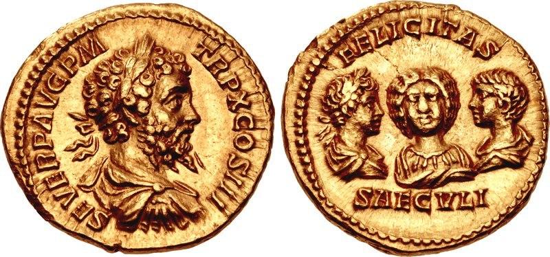 Septimius Severus, Julia Domna, Caracalla, Geta, aureus, AD 202, RIC IV 181c