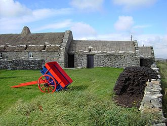 Croft (land) - The Shetland Crofthouse Museum, with peat stacked outside