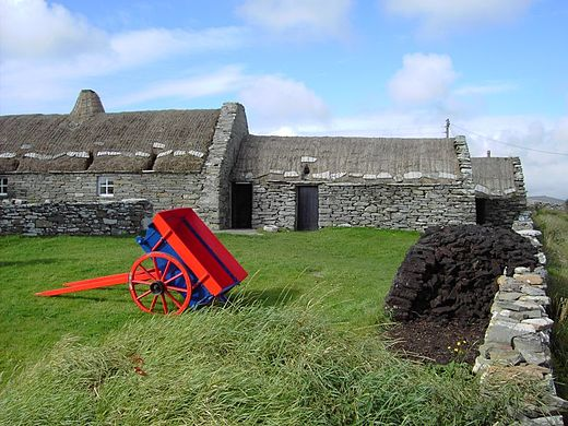 The Shetland Crofthouse Museum, with peat stacked outside Shetland crofthouse museum.jpg