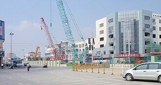 Suzhou Rail Transit - Image: Shi Hu Road Station under construction