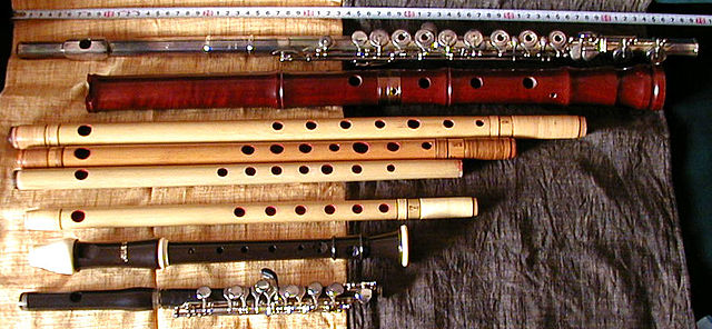 A selection of flutes from around the world Shinobue and other flutes.jpg