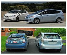 Comparazione tra Toyota Prius berlina (a sinistra) e Prius v/Prius+/Prius ? (a destra)