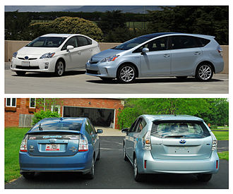 Toyota Prius V - Side by side comparison of Toyota Prius Liftback (left) and Prius v (right)