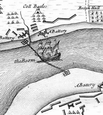 Boom (navigational barrier) - A boom blocking the River Foyle during the Siege of Londonderry