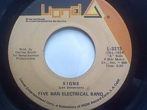 Signs (Five Man Electrical Band song) - Image: Signs 45RPM