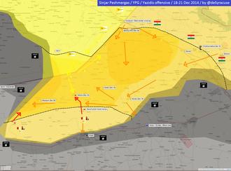 December 2014 Sinjar offensive - Image: Sinjar offensive map
